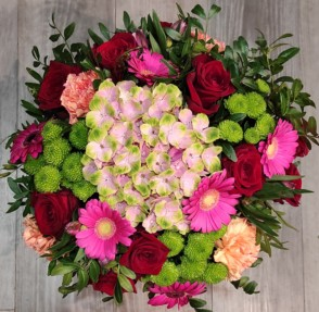 Bouquet 2 hortensias et fleurs de saison